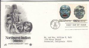 1980, Northwest Indian Masks-Bella Bella, Tlingit, Artcraft/PCS, FDC (E8298)