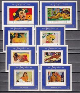 Manama, Mi cat. 875-882 C. Paul Gauguin`s Paintings issue, Deluxe s/sheets.