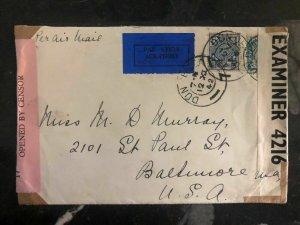 1942 Dundalk Ireland Dual Censored  Cover To  Baltimore MD USA Back Label