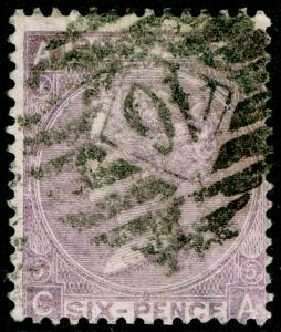 SG97, 6d lilac PLATE 5, USED. Cat £100. CA