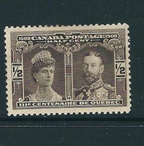 Canada 96 SG 188 ½c Sepia MH F/VF 1908 SCV $8.00