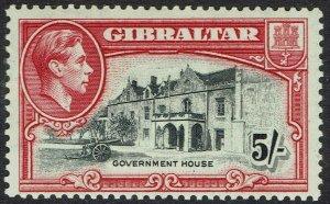 GIBRALTAR 1938 KGVI GOVERNMENT HOUSE 5/- PERF 13 MNH **