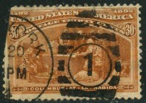 US Sc#239 1893 30c Columbian Fine Centered Used Filler