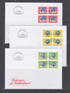 Switzerland Mi 1709/1745, 2000 issues, 9 complete sets in blocks of 4 on 17 FDCs