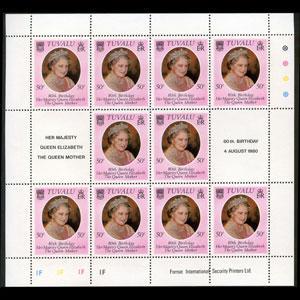 TUVALU 1980 - Scott# 137 Sheet-Q.M. NH