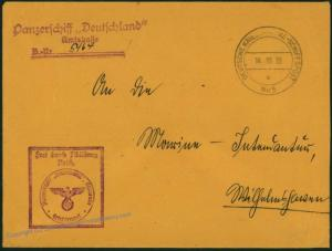 German Navy Spanish Civil War Panzerschiff Deutschland Feldpost Cover 54383
