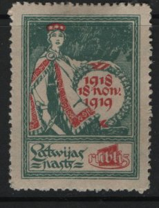 LATVIA, 63, HINGED, 1919, Allegory of one year of independence