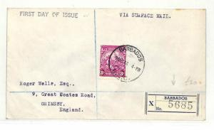 AB134 British 1946 Barbados Grimsby GB First Day of Issue {samwells-covers}