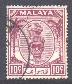 Malaya Perak Scott 111 - SG136, 1950 Sultan 10c Purple used
