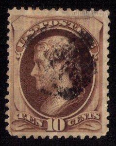 US Sc #161 Used 10c Brown Jefferson F-VF
