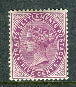 STRAITS SETTLEMENTS; 1899 early QV Crown CA Mint hinged Shade of 5c. value