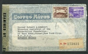 PERU; LETTER/COVER 1943 fine Censor item to Rockefeller Found. New York