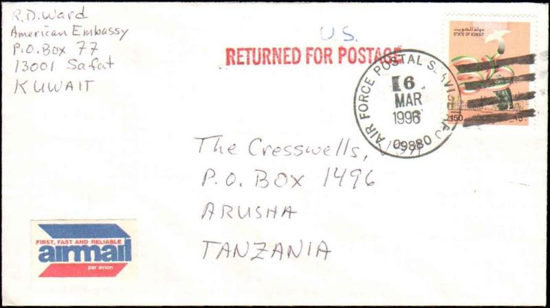 1996 KUWAIT AIR FORCE POSTAL SERVICE CANCEL AUXILIARY RETURN FOR POSTAGE