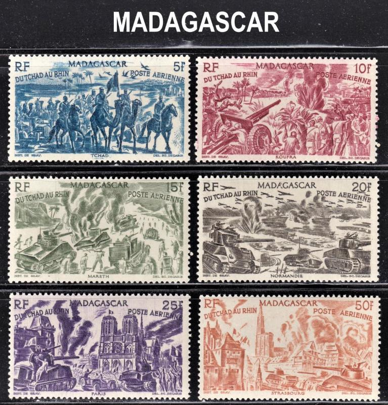 Madagascar Scott C45-50  complete set  F to VF mint OG NH.