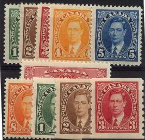 Canada -1937 Mufti Set + Coils + 3c Coronation mint #231-240