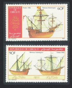 Djibouti Historic Ships of Columbus 1492 2v SG#977-978