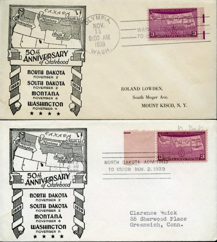 #858-35 (2) DIFFERENT TOWN CANCEL FDC CACHET BY C.S. ANDERSON BN1038