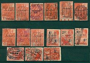 Belgium 1926 /34 range of 15 revenue issues as illustrated diff rates FU Stamps