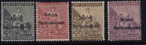 Bechuanaland 5 to 8 mh short set w/anchor watermark & mark on back of 7 & 8