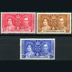 ST.KITTS-NEVIS 1937 - Scott# 76-8 Coronation Set of 3 LH