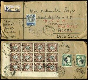 Tanganyika 1946 Registered Iringa 50c franking to Gold Coast redirected
