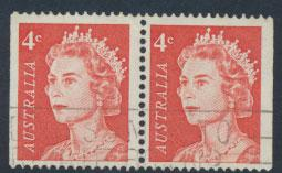 Australia SG 386c - Used  booklet stamps pair  left/right Margins imperf