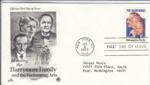 1982, Honoring the Barrymore Family, Artcraft/PCS, FDC (D15193)
