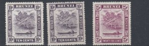 BRUNEI  1947 - 51  S G  85 + 85A + 87    VALUES TO 25C  MH