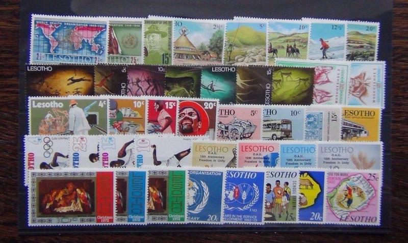 Lesotho 1967 1973 sets Paintings Tourism Development Olympics WHO Food MNH