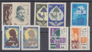 Iran Sc 1169/1287 MNH. 1961-64 issues, 5 complete sets, fresh, F-VF.