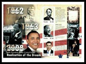 Tuvalu 2009 President Barack Obama Dr Martin L. King Jr. - Sheet of 6 Sc 1084