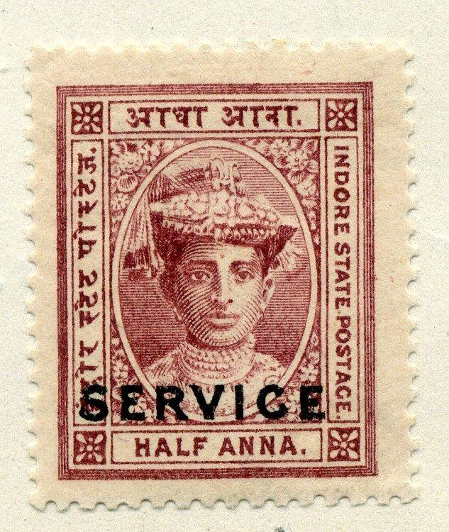INDIA  INDORE early 1900s SERVICE Optd. issue Mint hinged 1/2a. value
