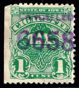 US STAMP BOB REVENUE STATE OF IOWA CIGARETTE  TAX PAID STAMP
