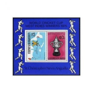 St Kitts-Nevis 323a,MNH.Michel Bl.6. World Cricket Cup,1976.Map.