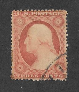 25  Used, 3c. XF+  Washington, Dull Red, scv: $175  FREE INSURED SHIPPING