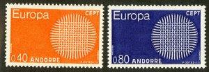 FRENCH ANDORRA 196-7 MH SCV $20.00 BIN $9.00 EUROPA