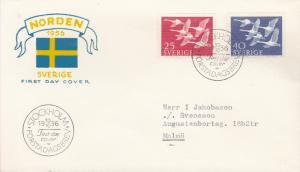 Sweden 1956 Norden Joint Issue Whooper Swans First Day Cover. Typed Address. VF