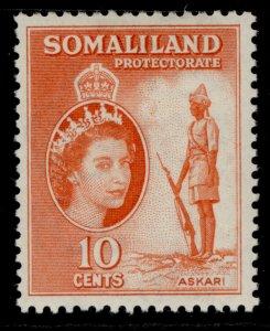 SOMALILAND PROTECTORATE QEII SG138, 10c red-orange, M MINT.