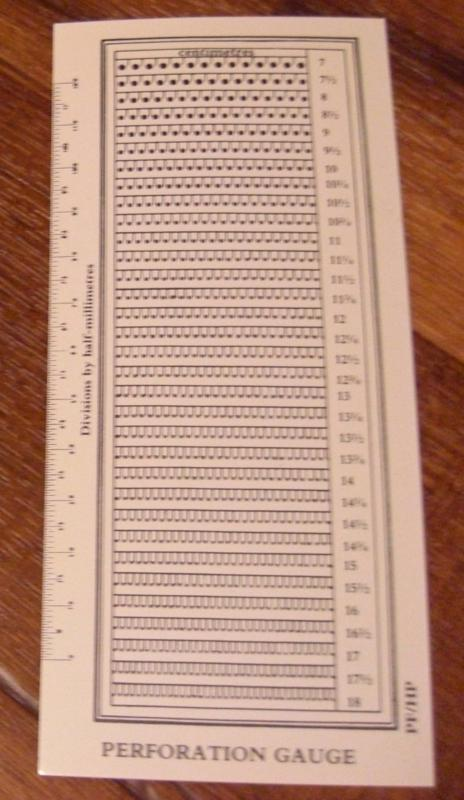 Stamp Perforation Gauge -- 7 to 18 (With 1/2, 1/4 and 3/4)