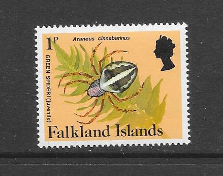INSECTS - FALKLAND ISLANDS-#387 GREEN SPIDER  MNH