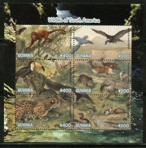 Guyana 2019 Wildtiere von Süden America Blatt von Sechs Postfrisch