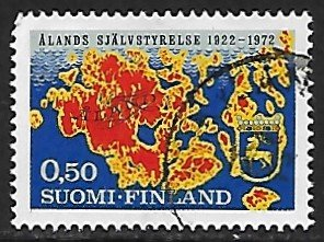 Finland # 516 - Map of Aland - used -.....[Gn6]