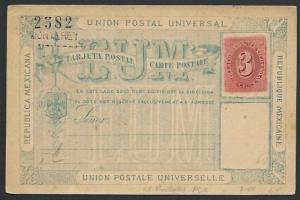 MEXICO Early 3c postcard unused : MONTEREY.................................66217