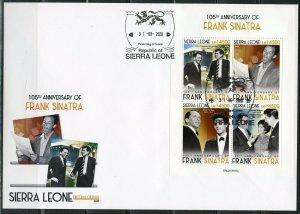 SIERRA LEONE 2020  105th  ANN OF FRANK SINATRA WITH JFK  & ELVIS SHEET FDC