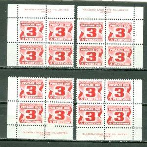 CANADA 1973 DUES #J30 ...PLATE CORNERS SET MNH...$8.00