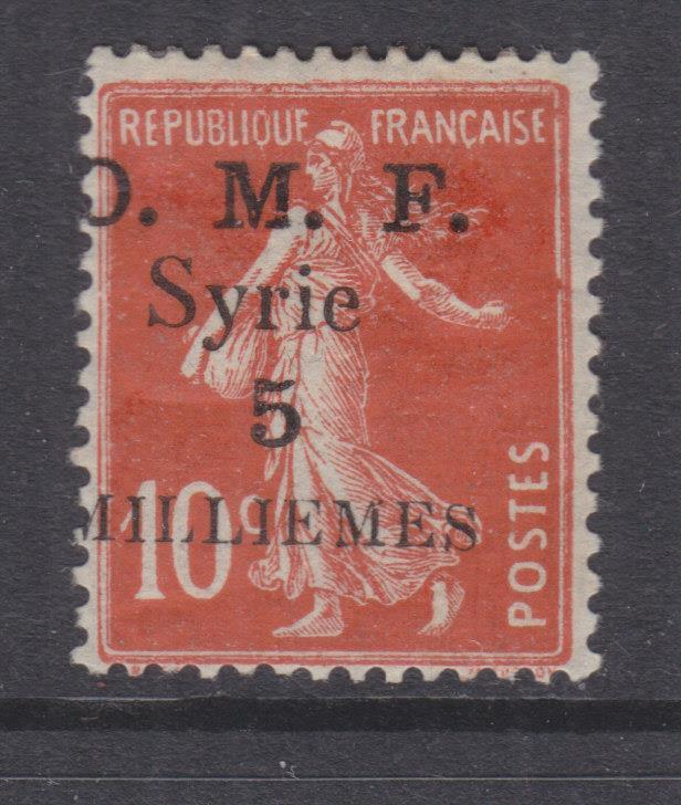 SYRIA, 1920 thick OMF 5m. on 10c. Red, lhm.