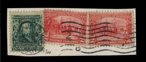 US - 1907 - Sc.#300 & 2x Sc.#329 ON FRAGMENT CANCELLED MILWAUKEE, WI