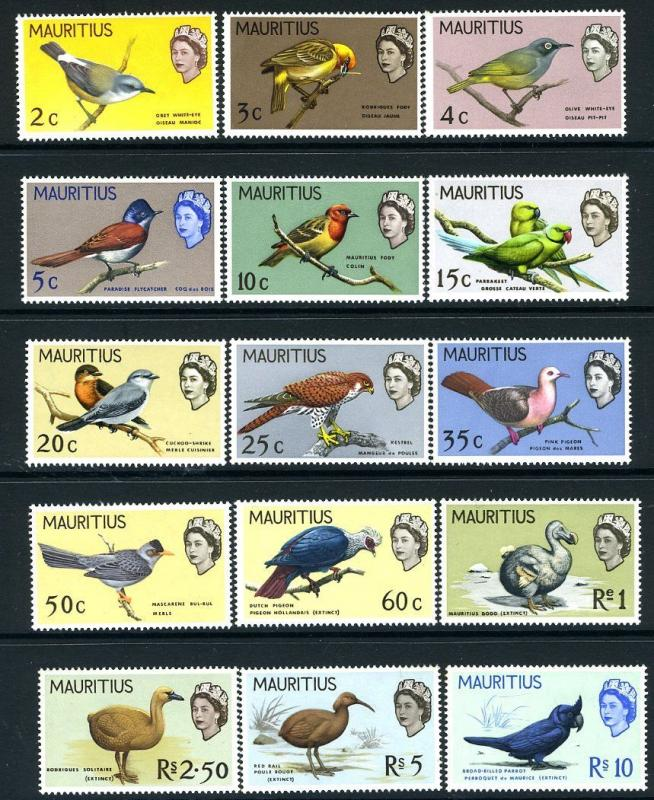 MAURITIUS-1965 Birds Set to 10r  Sg 317-331 UNMOUNTED MINT V18851