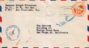 United States Marine Corps 6c Monoplane Air Envelope c1943 U.S. Navy Headquar...