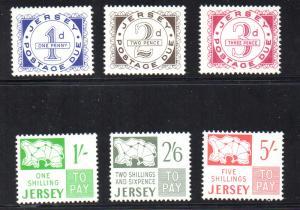 Jersey Sc J1-6 1969 Postage Due stamp set mint NH